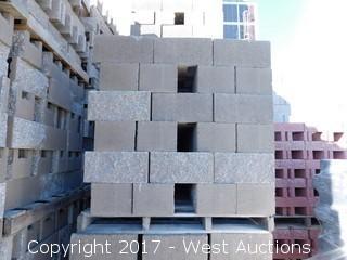 (1) Pallet of Masonry Block 10x8x16 STD Split Face 1 Side, Combed Face 1 Side, Lightweight Tan