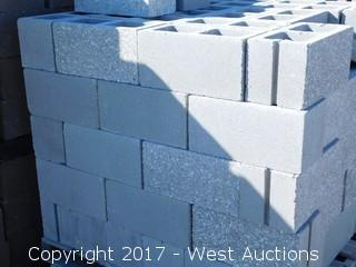(1) Pallet of Masonry Block 8x8x16 STD, Ground Face 1 Side, LIghtweight Grey