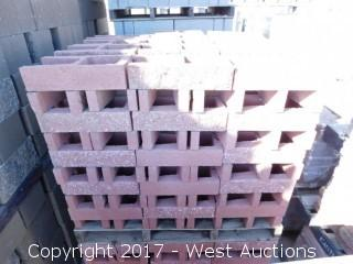 (1) Pallet of Masonry Block 8x4x16 OE STD, Splite Face 1 Side, Lightweight Red