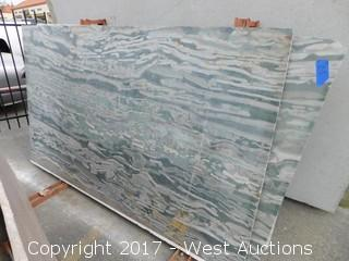 "(1) 95""x55"" Magic Green 2CM Granite Slab"