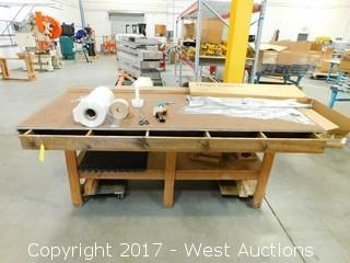 Large Wood Workshop Table with Contents