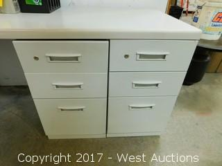 Desk with (4) File Storage Cabinets