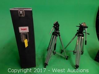 (2) Heavy Duty Bogen Tripods with Road Case