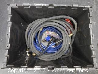 Air Hose, Gauges, (2) Nozzles, 3-Way Splitter