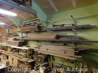 Bulk Lot - Large Stock of Hardwood Plus (6) Wall Mounted Racks
