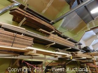 Bulk Lot - Large Stock of Hardwood Plus (6) Wall Mounted Racks