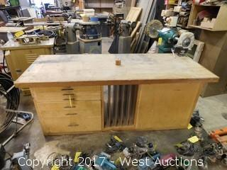 "Wood Work Bench 80""x30 1/2"" with 4"" Shop Fox Vice"