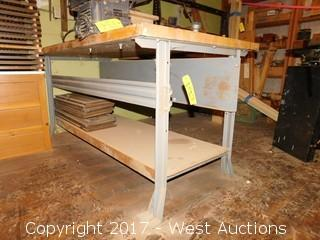"Wood Top / Steel Frame Work Bench - 6'x3'1/2""x2"""