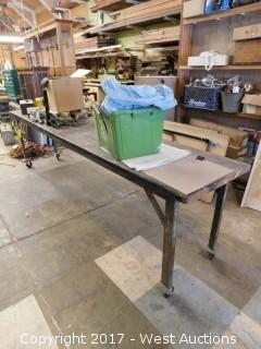 11' Long Table on Casters with Miscellaneous Tools