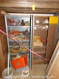 (2) Metal Cabinets with Electrical Cables, Wire, Lights and (1) Tall Wooden Shelf