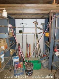 Lot of (2) Shelves with (20+) Shovels, Hammers, Metal Tools, Garden Tools, and More