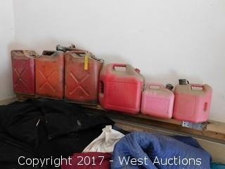 (6) Gas Cans and Lot of Blankets