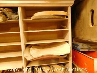(3) Shelves with Sanding Materials and Other Tools