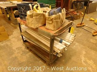 Cart with (40) Fluorescent Lights and Miscellaneous Tools