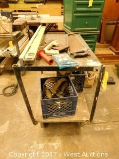 "Metal Cart with Hand Tools 331/2""x21"""