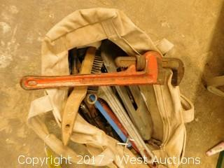 Bag of Wrenches, Wire Brushes, Ratchets, Drill Bits, and More