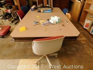 """Wooden Table 92""""x54"""" and (5) Chairs"""