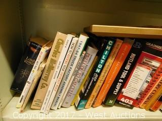 Wood Shelf with Books, Heater, Laminator, and More