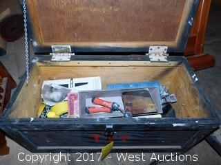 (3) Heavy Duty Wood Containers with Misc. Hand Tools, Utilities, and Copper Pipe Fittings