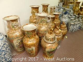 (11) Oriental Porcelain Vases - Hand Painted Landscape Themed with Brass Tone