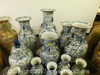 (22) Oriental Porcelain Vases - Hand Painted Blue Tone with Foliage Themes