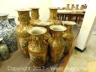 (7) Oriental Porcelain Hand Painted Vases, Brass Tone, Landscape Themed