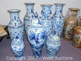 (7) Oriental Porcelain Hand Painted Vases, Blue Tone Foliage and Heroic Themed