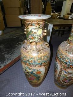 (1) Oriental Hand Painted Porcelain Vase, Brass Tone with Landscape Theme