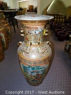 "(1) Oriental Hand Painted 36"" Porcelain Vase - Brass Tone with Landscape Theme"
