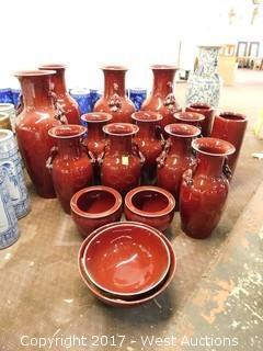 (18) Oriental Porcelain Vases and Bowls - Oxblood Tone, Uniform Glaze
