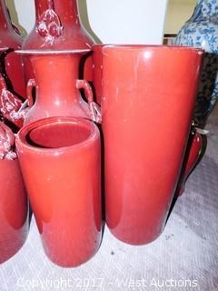 (18) Oriental Porcelain Vases and Bowls - Oxblood Tone, Uniform Glaze