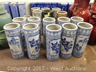 "(11) Oriental Cylindrical Hand Painted 24"" Porcelain Vases - Blue Tone Garden Themed"