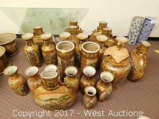 (23) Oriental Hand Painted Porcelain Vases, Assorted Shapes and Sizes