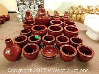 (24) Oriental Porcelain Temple Jars and Bowls - Oxblood Tone with Uniform Glaze