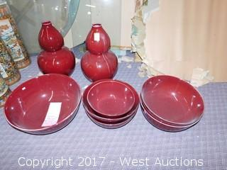 (8) Oriental Porcelain Bowls and Vases  - Oxblood Tone with Uniform Glaze