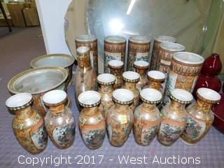 (20) Oriental Hand Painted Porcelain Vases and Planter Bowls - Brass Tone with Landscape Theme