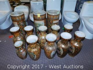 (13) Oriental Hand Painted Porcelain Vases - Brass Tone with Landscape Themes