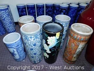 (7) Oriental Hand Painted Porcelain Cyinder Vases