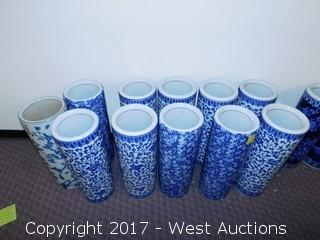 (11) Oriental Hand Painted Porcelain Cylinder Vases - Blue Tone with Foliage and Flower Themes