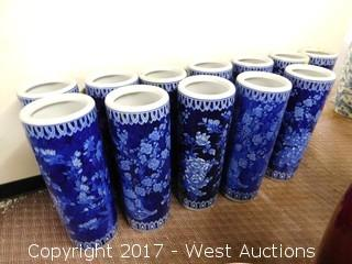 (12) Oriental Hand Painted Porcelain Cylinder Vases - Blue Tone Single Design Floral Theme