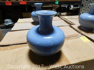 "Box of (12) Oriental 7"" Cracked Glaze Porcelain Vases - Blue Tone with Uniform Glaze"