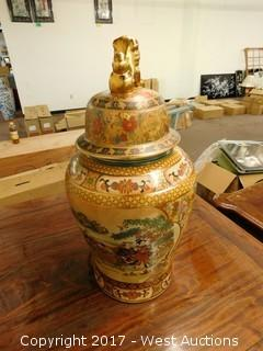 "(1) Oriental Hand Painted 24"" Porcelain Temple Jar - Brass Tone with Landscape Theme"