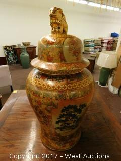 "(1) Oriental Hand Painted 30"" Porcelain Temple Jar - Brass Tone with Landscape Theme"