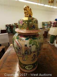 "(1) Oriental Hand Painted 30"" Porcelain Temple Jar - Brass and Green Tone with Domestic Theme"