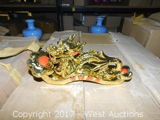 Box of (12) Oriental Decorative Gold Ceramic Dragons