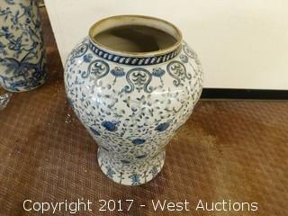 "(1) Oriental Hand Painted 36"" Porcelain Temple Jar - Blue Tone with Floral Theme"