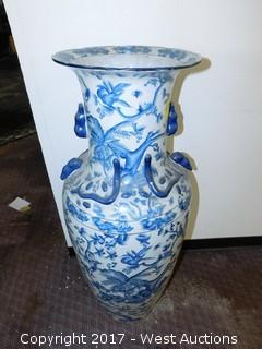 "(1) Oriental Hand Painted 42"" Porcelain Vase - Blue Tone with Foliage Theme"