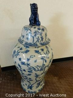 "(1) Oriental Hand Painted 36"" Porcelain Temple Jar - Blue Tone with Floral Theme"