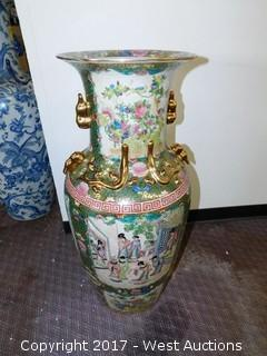 "(1) Oriental Hand Painted 36"" Porcelain Vase - Brass and Green Tone with Domestic Theme"