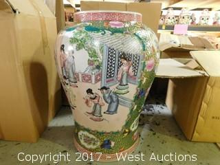 "(1) Oriental Hand Painted 24"" Porcelain Vase - Brass and Green Tone with Domestic Theme"